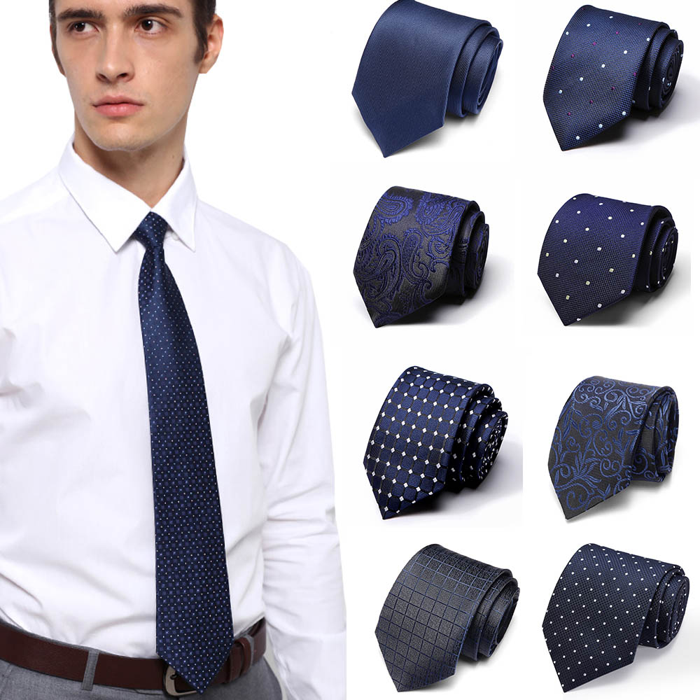 Neckties 7.5cm Slim Silk Neck Ties For Men Striped & Dot Wedding Suits Gravatas Business Neckwear Polyester Corbatas