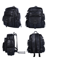 Wholesale NEW fashion Man Backpack 2017 Men Bags Leather Shoulder Bag Black Casual Travel Backpacks Waterproof Big Mochilas