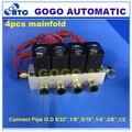 4 шт. гребенки connet трубы OD 5/32 1/8 5/16 1/4 3/8 1/2 Пневматический прямой акт электромагнитный клапан 2V025-06 24 В DC газовый клапан набор