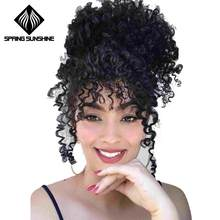 Spring sunshine Ponytail Puff Afro Hair Bun High Kinky Curly Drawstring Short Afro Pony Tail Clip in on Synthetic(China)