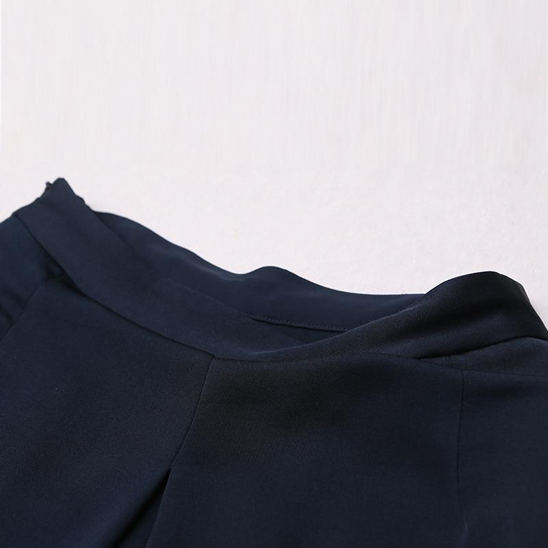 VOA 2017 automne bleu soie solide taille haute jambe large pantalon - Vêtements pour femmes - Photo 3