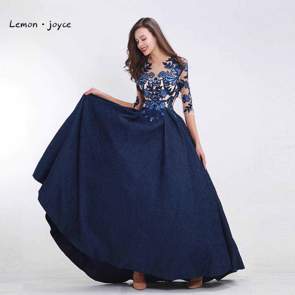 Lemon joyce Formal Evening Dresses with Half Sleeves 2019 O neck Appliques Illusion Long Prom Gowns