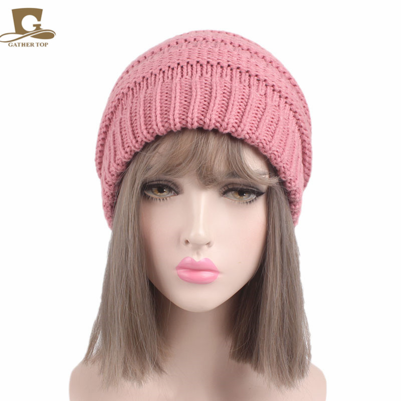 92d3b81561f New Girls Lady Hat Tail Soft Stretch Cable Knit Messy High Bun Ponytail Beanie  Hat Women Cap-in Women s Hair Accessories from Apparel Accessories on ...