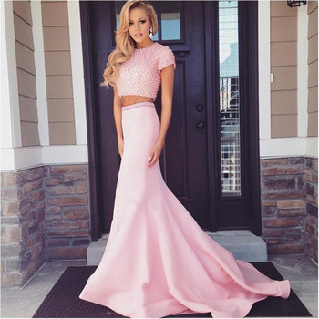 2019 Hot Sale Two Piece Gown Pearls Mermaid Backless Cap Sleeves O-Neck Satin Evening prom Dresses long for women