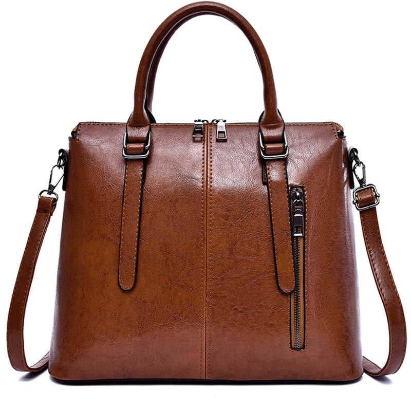 0be5ad83959eb6 Solid Color PU Leather Handbags For Women 2019 Office Lady Big Tote Bags  High Capacity Female