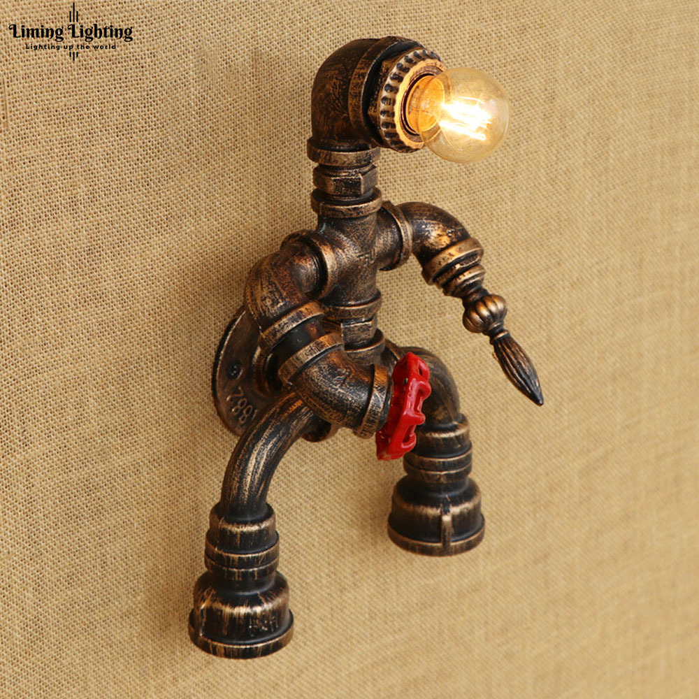 Robot Steam Punk Creative Iron Loft Industrial Water Pipe Retro Wall Lamp E27 LED Sconce Wall Lights Living Room Bedroom Bar