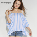 2017 Summer Off Shoulder Tops Shirts For Women Half Sleeve Blouse Sexy Blouses Slash Neck Women Tops Striped Blusas Femininas