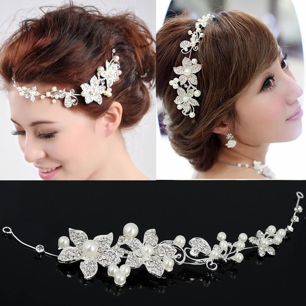 Wedding Bridal Party Pearl Diamante Love Flower Tiara women romantic Headband Head Hair Bands Headress Hairwear Accessory