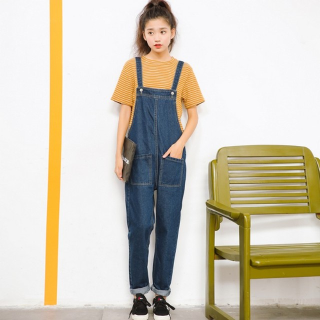 4bebf08deca0 Female Denim Jumpsuits Casual Rompers Loose Pockets Overalls For Women  Sleeveless Side Zipper Jeans Playsuits Oversized