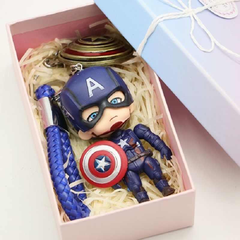 10 cm marvel Avengers Spider-Man Raytheon Batman Iron Man kapitan ameryka brelok figurka dla dzieci prezent z pudełko na prezent