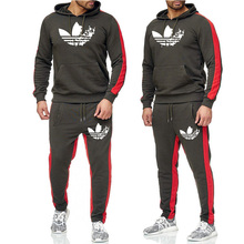 New 2019 Brand Tracksuit men thermal hoodies Men Sportswear hip hop Sets Fleece Thick hoodie+Pants casual Sporting Suits
