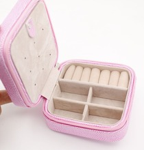 Faux Leather PU pink Jewelry Storage Box Holder Organizer Display