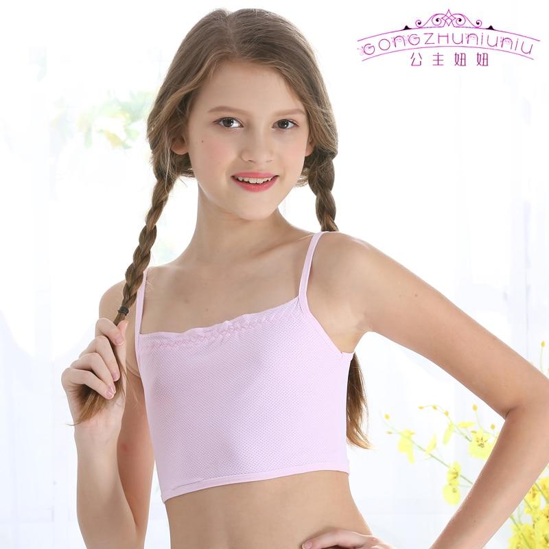 Gongzhuniuniu Puberty Young Kids Girls Thin Strap Vest Clothing Spandex Training Bra For Teenager