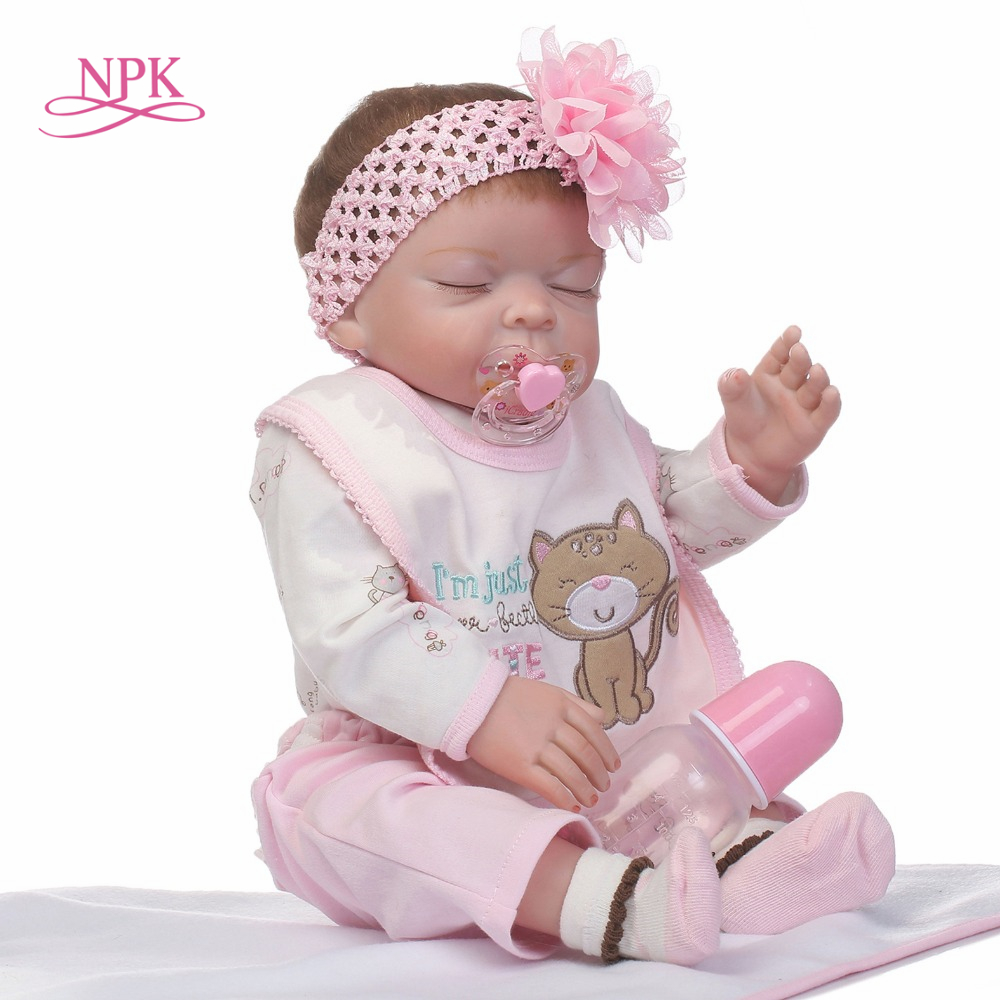 NPK 50cm realistic reborn baby doll full vinyl girl doll lovely sleeping doll gift for Childrens day