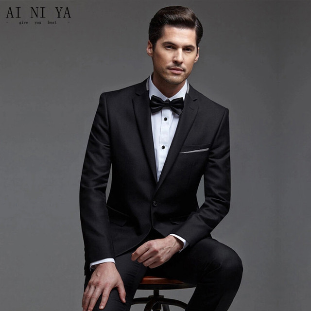 New Style Men Wedding Suits Black One Button Two Piece Suit Two ...