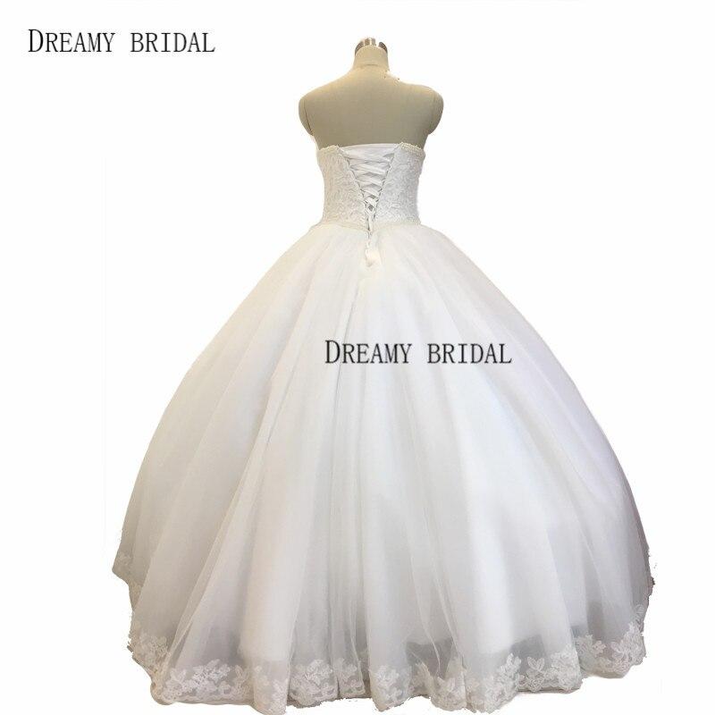 Dreamy bola nupcial Vestidos de novia enagua libre Encaje perlas ...