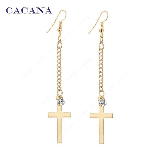 CACANA Long Earrings Cross Dangle Earrings For Women Top Quality With CZ Bijoute