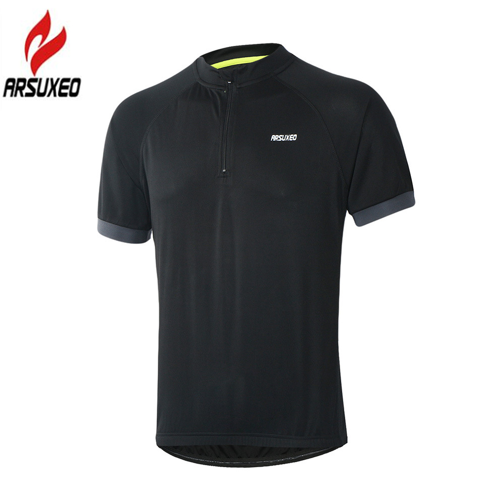 ARSUXEO Men's Cycling Jersey Short Sleeve Breathable Bicycle Shirts Road Mountain Bike Jerseys with Partial Zipper MTB Clothing image