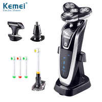 Kemei 4 In 1 3D Floating Rechargeable Electric Shaver 4 Blades Washable Electric Shaving Razors Multifunction Face Care 45D