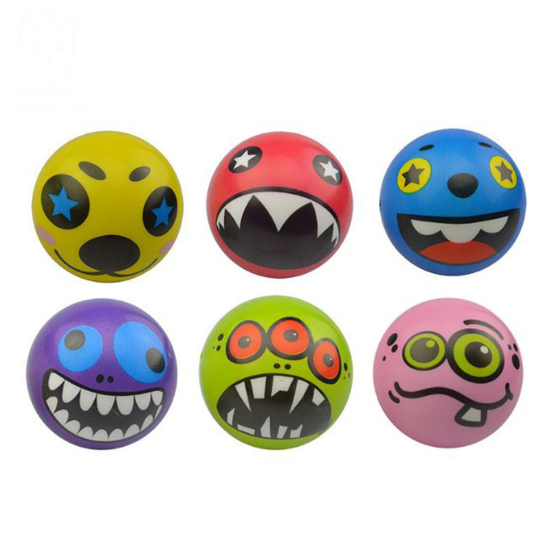 10 pcs/lot New 6.3cm Hand Wrist Exercise PU Rubber Toy Balls Face Print Sponge Foam Ball Squeeze Stress Ball Relief Toy ...