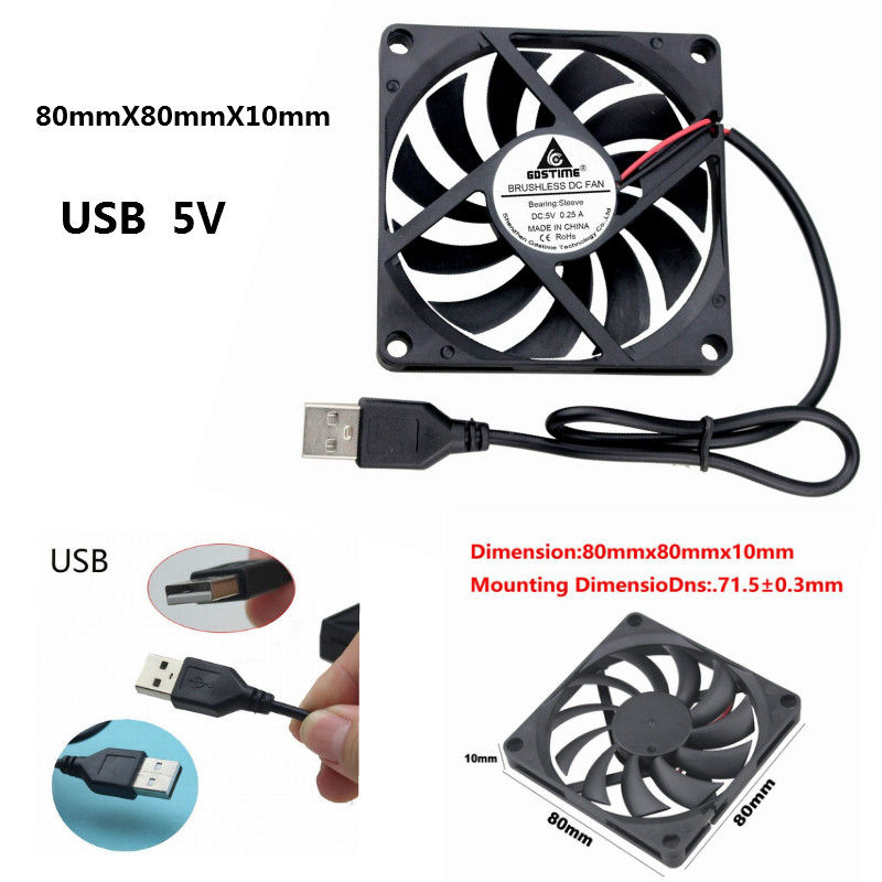 5 Pcs 5V 80x80x10mm 8cm Brushless PC CPU Computer Cooler Cooling Fan 80mm 2Pin
