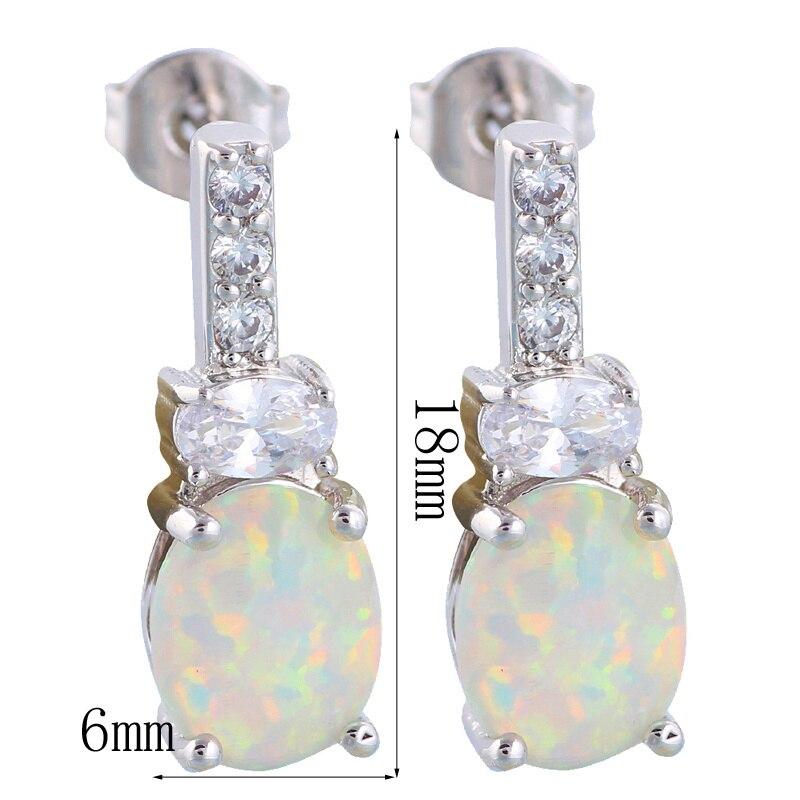 900616c622fca Wonderful Wholesale   Retail White Fire Opal Silver Stamped Stud Earrings  for women Fashion Jewelry OE516