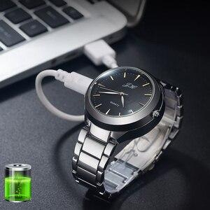 Image 5 - ผู้ชายนาฬิกาFlameless USBไฟแช็กนาฬิกาผู้ชายควอตซ์นาฬิกาข้อมือทังสเตนสแตนเลสไฟแช็กนาฬิกาJH329