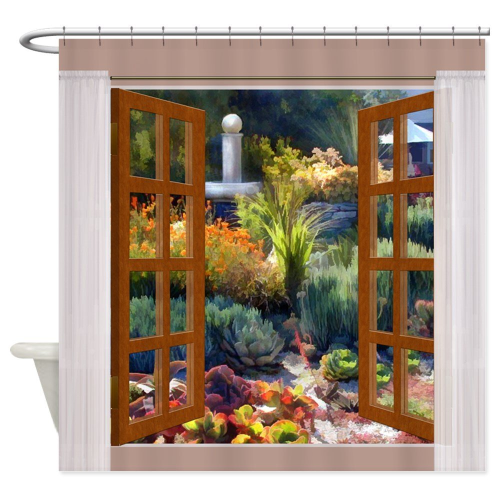 Window View Southwest Cactus Garden Shower Curtain Decorative Fabric Shower Curtain Set House Doormats for Living Room