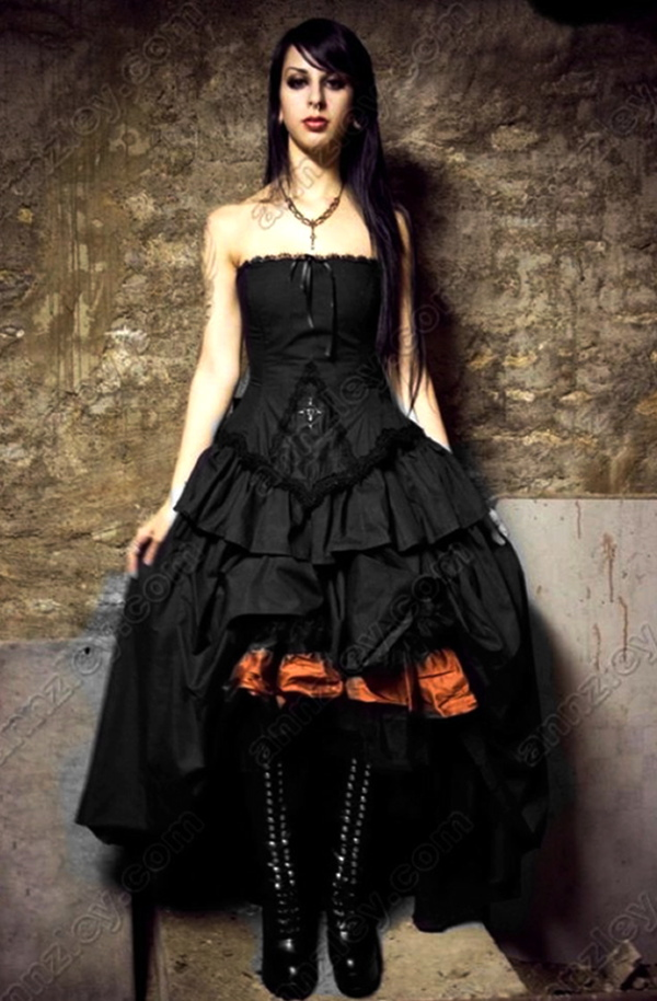 Vintage Vampire Cross Corset Black Gothic Wedding Dresses New