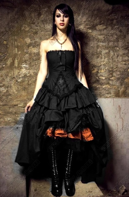 Vintage Vampire Cross Corset Black Gothic Wedding Dresses New ...