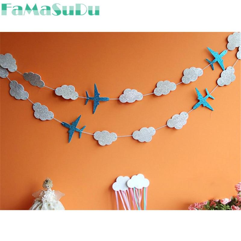 1 Set Airplane Cloud Glitter Banner Birthday Wedding Party Handmade DIY Decor