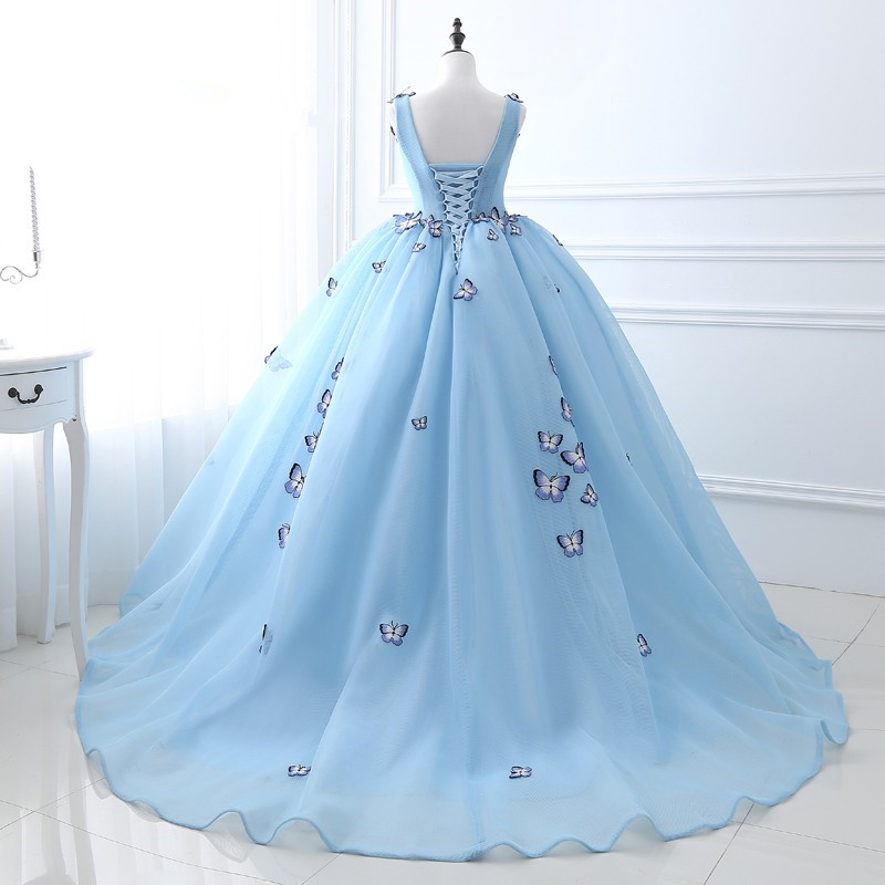 100% Real Image Quinceanera Dress Light Blue Ball Gown Prom Dress Sleeveless V-neck Cotton Tulle with Butterfly Applique Bandage