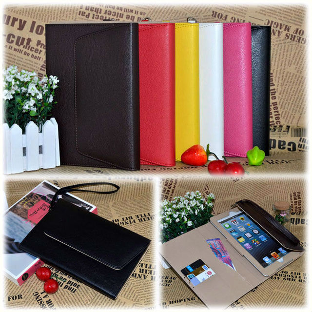 High Quality PU Leather magnetic Handbag Case For Apple iPad Mini with Credit Card Holder Retail Package FREE SHIPPING