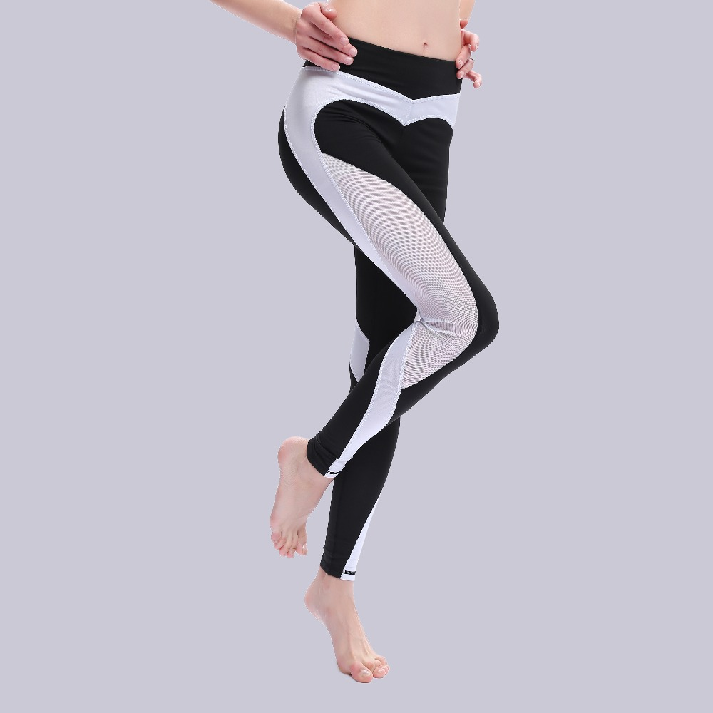Double Heart Pattern Leggings Women Fitness Workout Sporting Pants Breathable Elastic Waist Gyming Exercise Clothing For Women