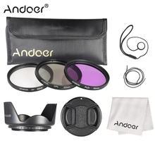Kit de filtros Andoer de 52mm (UV + CPL + FLD) + bolsa de transporte de nailon + tapa de lente + soporte para tapa de objetivo + parasol + paño de limpieza de lente