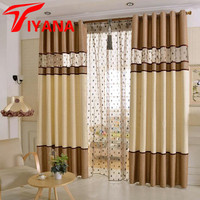 Brown Chenille Embroidered Luxury Upscale Nest Polyester Fabric Bedroom Living Room Curtain Stitching Curtains Finished 20