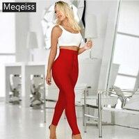 New Fashion Bodycon Women Trousers High Waist Slim Full Length Sexy Women Pant 2019 Bandage Trousers Pant Wholesale Dropship B 9