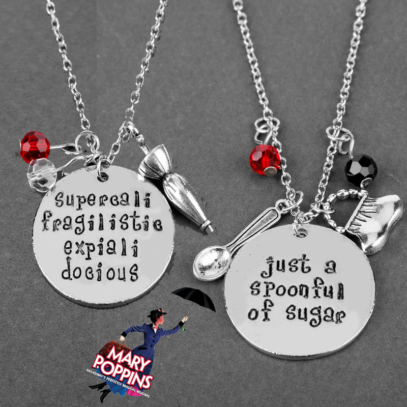 Mary Poppins Jewelry Movie Prop Pendant Necklaces spoon Handbags Umbrella Crystals Charms Necklace Women's Choker