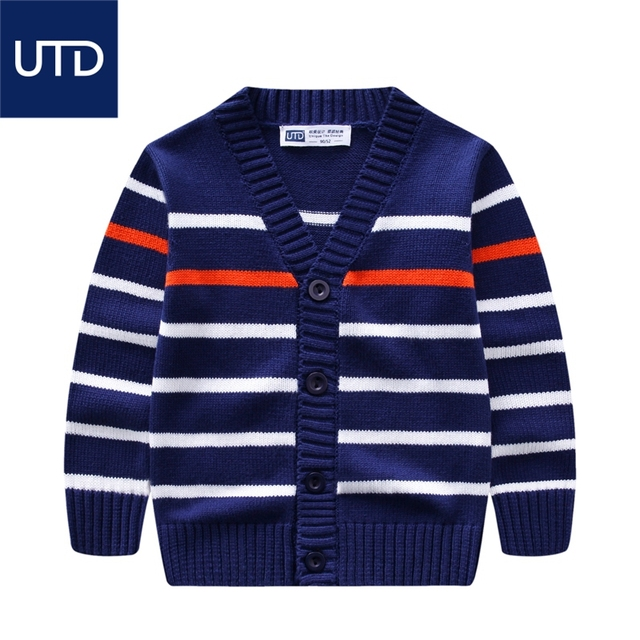 The new  2-8 years old children's sweater cardigan spring 2017 Boys Striped Sweater cotton children's leisure sweater