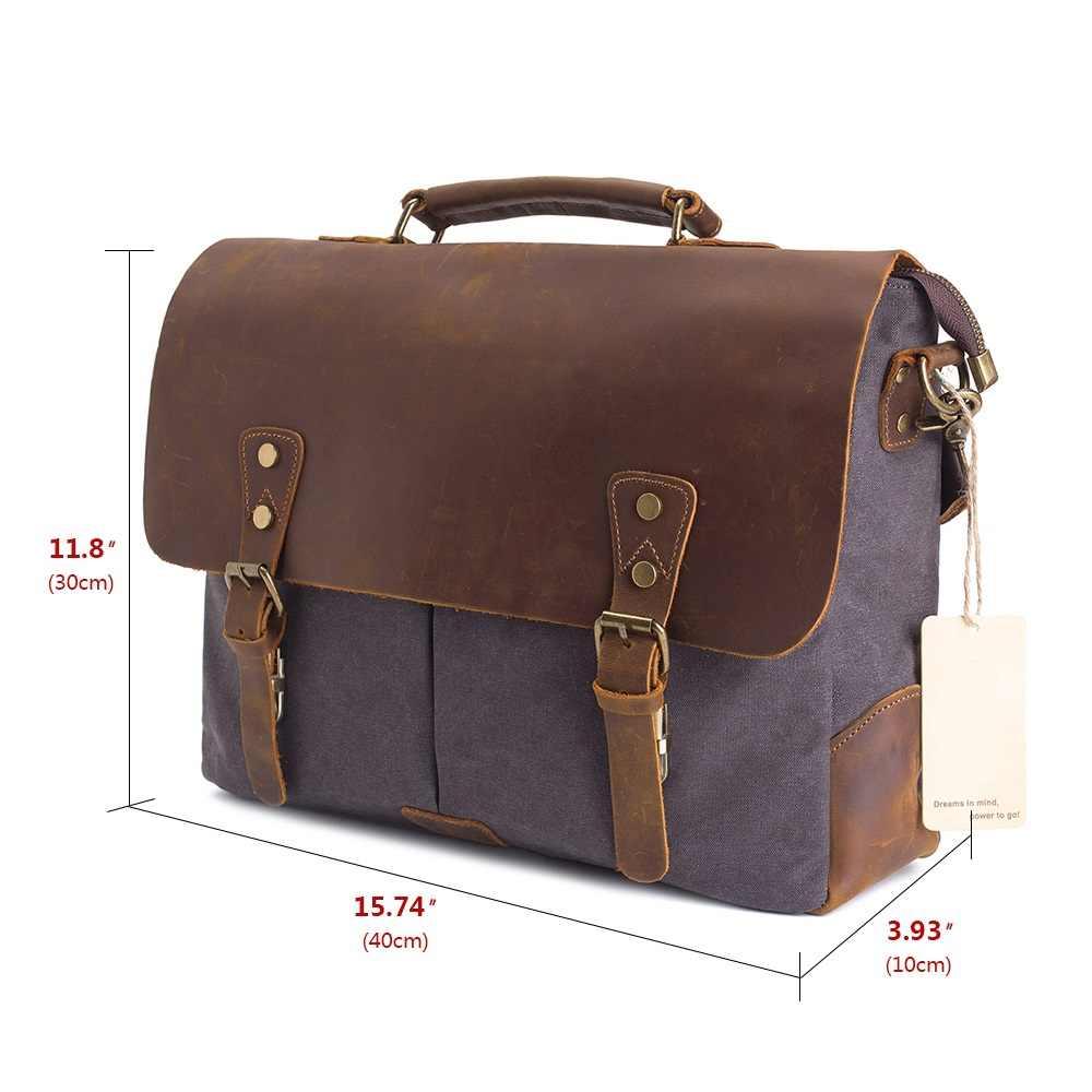 80383909bb9d ... AUGUR мужские сумки 15,6 дюймов кожа Винтаж Сумка через плечо для  мужчин и женщин