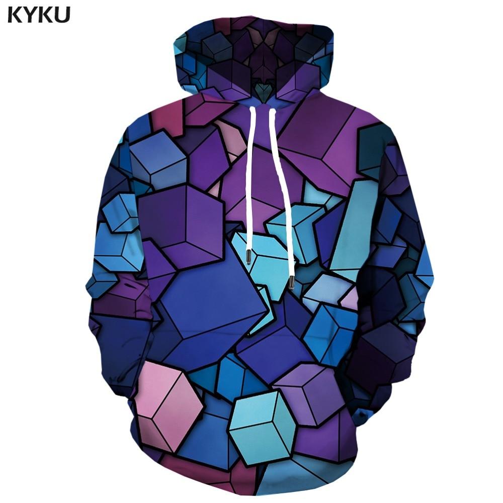 KYKU 3d Hoodies Rubik'S Cube Hoodie Men Squared Hoodes 3d Colorful Hoodie Print Geometric Hoody Anime Russia Hooded Casual