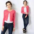 2016 Новые Поступления Весна Осень Женщины Мода Повседневная Блузки Универсальный Стиль Небольшой Outerwears Длинным Рукавом Тонкий Топы