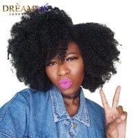 Мечта мне полное кружева натуральные волосы парики для черный Для женщин афро курчавые Lace Wig бразильский Реми Pre сорвал отбеленные узлы пари