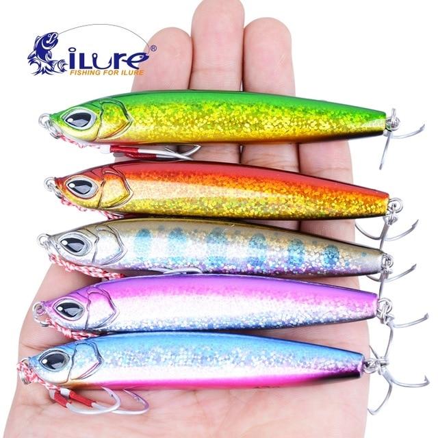 iLure 5pcs /lot 33g / 43g Top qualityJigbait Lure Shore Long Range Casting Fishing Carp Baits Jigs Metal  Spanish mackerel Pesca lifelike earthworm style fishing baits 5 pcs