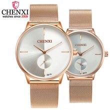 CHENXI Для женщин часы кварцевые Топ Роскошные брендовые модные браслет часы Пара Мода розовое золото из нержавеющей стали пояс сетки часы