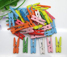 50pcs High Quality 9x25mm Mixed Mini Color Small Wooden Clips Decorations Paper Photo Spring Clips For Message Cards Household(China)