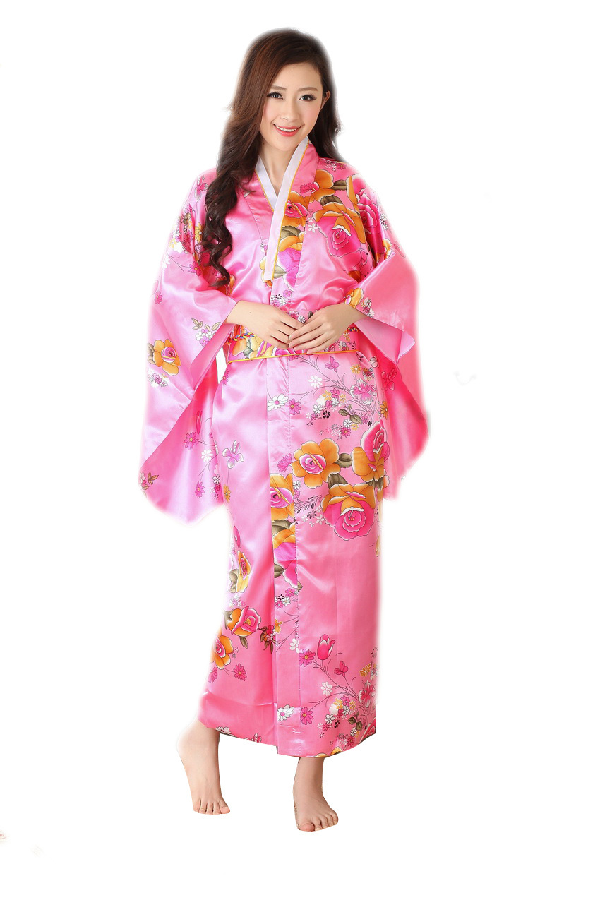Sexy Women Vintage Pink Flower Japan party Costume Kimono ...