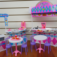 Super Fashion Miniature Furniture Fast Food Shop Accessories Playset For Barbie Doll House Classic Toys For
