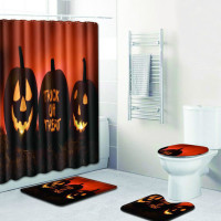 Toilet Mat and Shower Curtain Set Halloween Carpet Bathroom Anti Slip 50x80 Foot Pads Bath Mats and Contour Rug for Home Decor