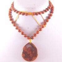 Новая мода 100% натуральный красный veins onyx бусинами Цепочки и ожерелья Подвеска Бесплатная доставка Q003